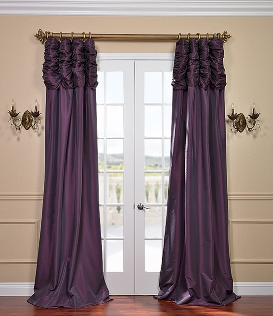 Dahlia Ruched Faux Solid Taffeta Curtain Contemporary