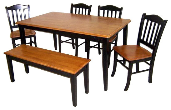 piece shaker dining set in black and oak transitional dining sets