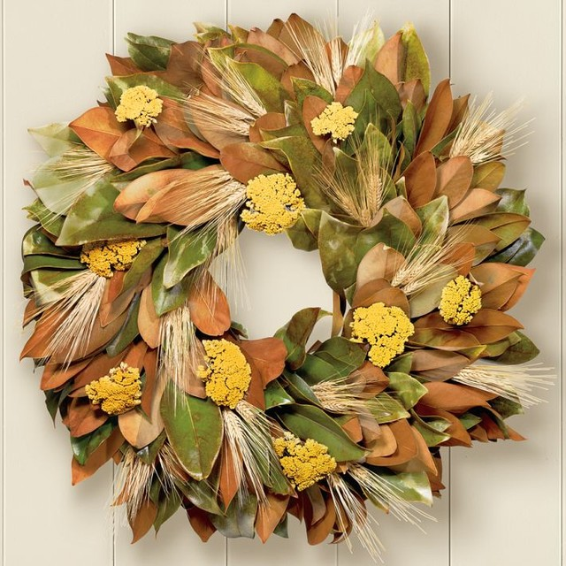 Magnolia amp Wheat Wreath Traditional Wreaths And Garlands By Williams Sonoma