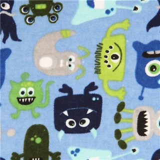 Blue monster alien flannel fabric riley blake usa fabric for Alien fabric