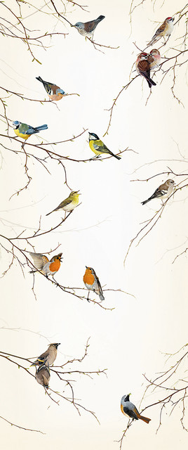 birds on branches mural wallpaper for a door