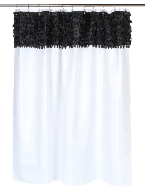 Jasmine Fabric Shower Curtain In Black White Eclectic Shower Curtains By Carnation Home