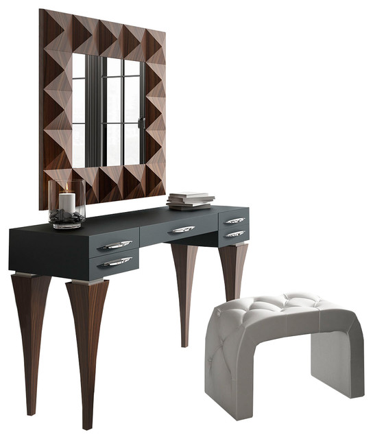 T04 Bedroom Make Up Vanity 55 Black Brown Matte Finish Contemporary