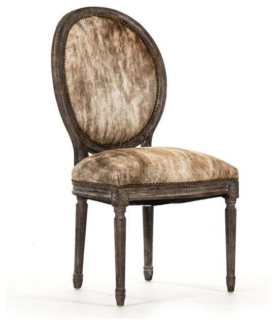 Medallion Cowhide Side Chair Transitional Dining