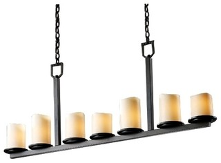 7-Light Dark Bronze & Creme Faux Candle Bar Chandelier ...