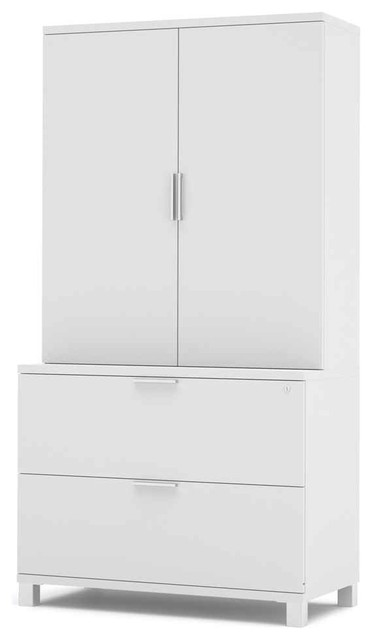 Lateral File Cabinet Set in White - Contemporary - Filing Cabinets - by ShopLadder