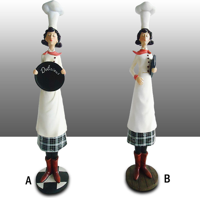 Bistro Tall Lady Chef Kitchen Figure Shelf Sitter Art