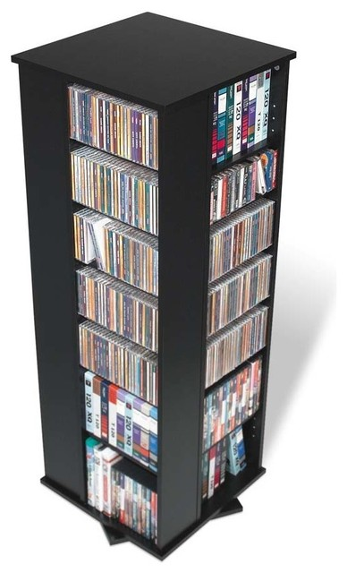 Prepac 4-Sided Spinning Tower Media Storage, Black - Contemporary - Media Cabinets - by BisonOffice