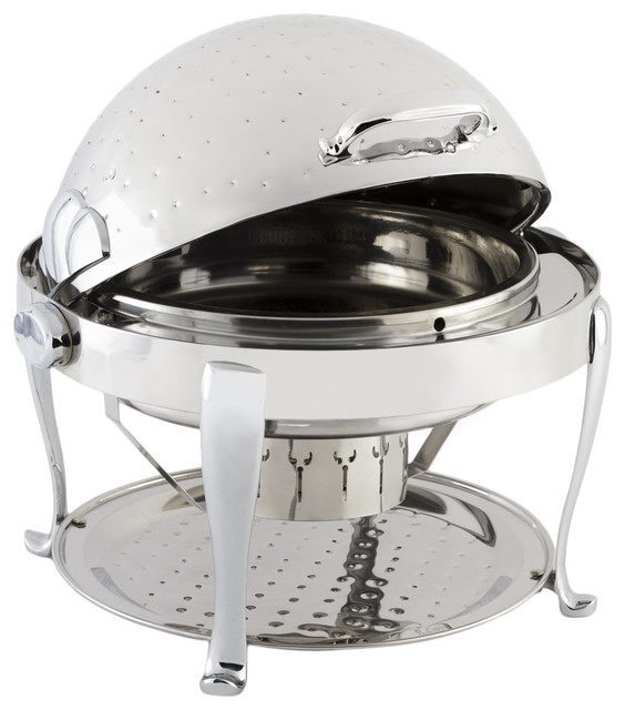 Stainless Steel Round Chafer With Roman Leg Chrome Trim and Hammered Finish - Traditional ...