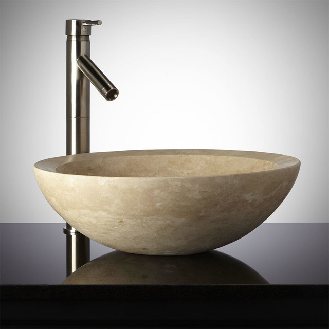 Round Polished Travertine Vessel Sink - Modern - Bathroom Sinks - by ...