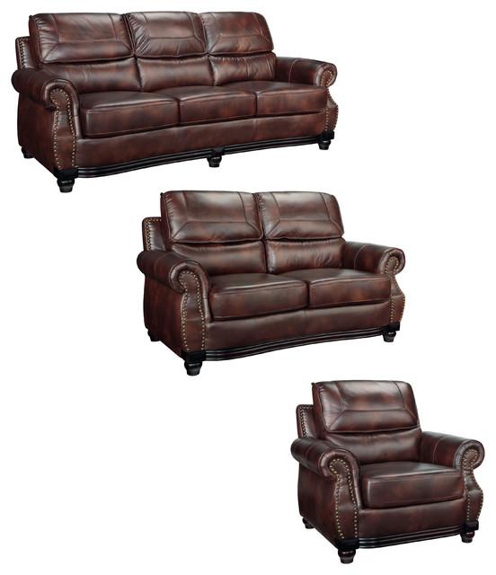 Maverick Cocoa Brown Italian Leather Sofa,Loveseat And
