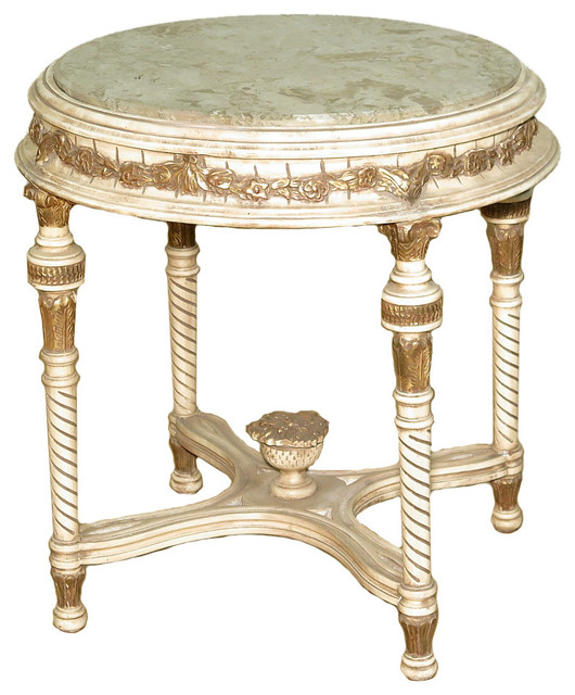 Consigned antique cream french style ornate occasional for Antique cream coffee table