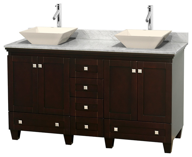 Acclaim 60 espresso dbl vanity carrera marble top pyra for Marble top console sink