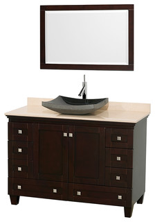 Acclaim 48 Espresso Vanity Ivory Marble Top Altair Sink Mirror Tra
