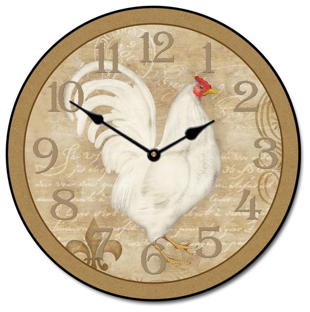 "French White Hen Clock 30"" farmhouse clocks"