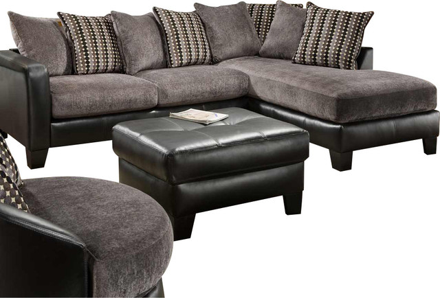 Global u3600 2 piece sectional sofa set in grey fabric and for Black and grey sofa set