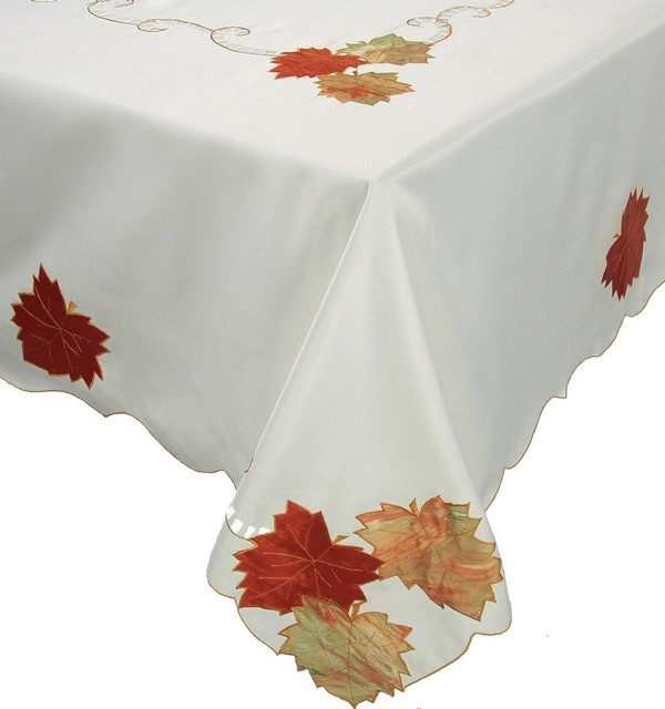 Scrolling leaf embroidered fall tablecloth quot x