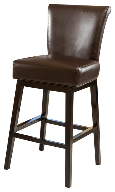Madoc Brown Leather Swivel Barstool Transitional Bar Stools And Counter Stools By Gdfstudio
