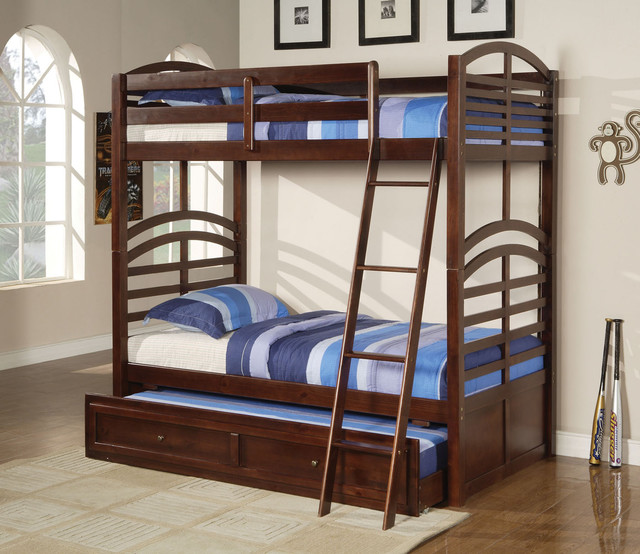 Espresso Twin Bunk Beds ~ Kevin espresso twin over full bunk bed with trundle
