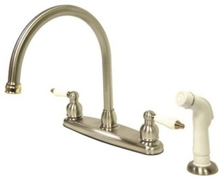 Double Handle Goose Neck Kitchen Faucet With White Sprayer