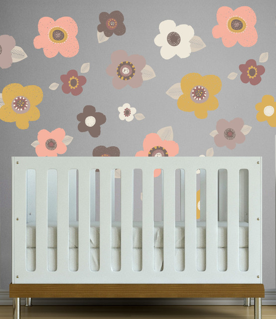 Sketched floral wall decal dusty hues modern - Modern nursery wall decor ...