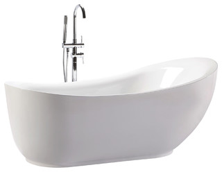 "HelixBath Cyrene Freestanding Acrylic Bathtub 71"" White w/ Round Overflow - Modern - Bathtubs ..."