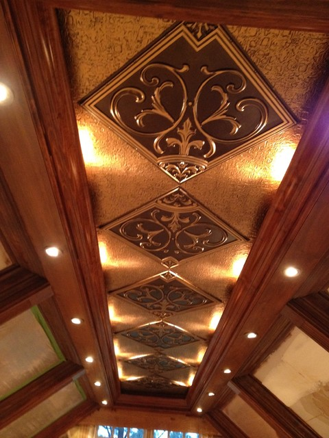 Coffered ceiling with antique gold inserts by decorative for Coffered ceiling styles