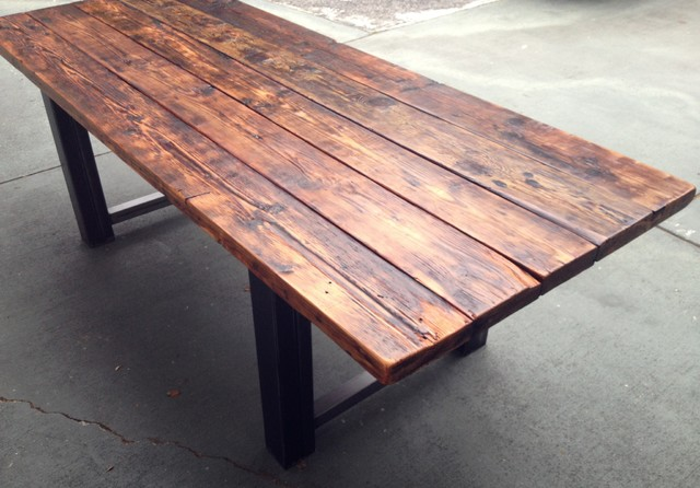 Modern Reclaimed Wood Desk reclaimed wood and metal dining table ...