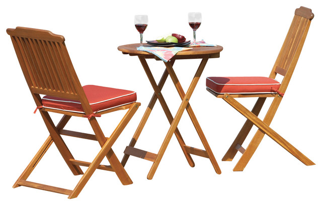 Outdoor Interiors 3 Piece Round Bistro Set with Seat Cushions Fully Assembled