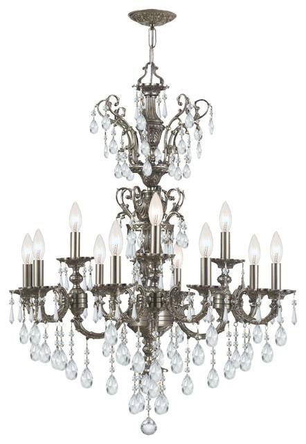 Crystal chandeliers light up : Crystal twelve light up lighting two tier chandelier