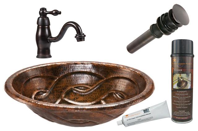 Mediterranean Bathroom Sinks: Oval Braid Self Rimming Copper Sink, ORB Single Handle