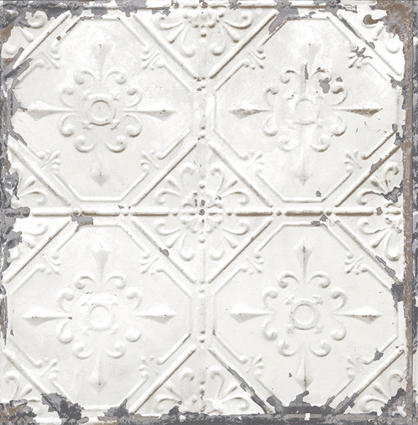 Tin ceiling tile wallpaper white bolt rustic wall decor by american wallpaper design - American tin tiles wallpaper ...