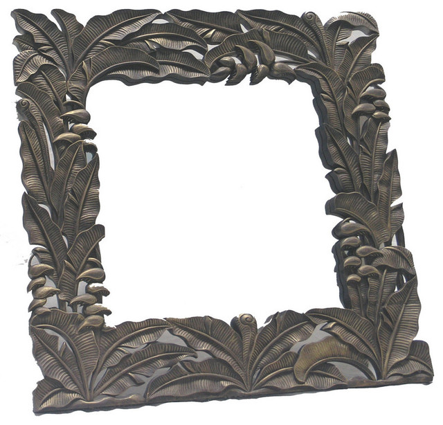 White wood bathroom mirror - Hand Carved Wood Square Frame With Mirror Tropical Wall Mirrors