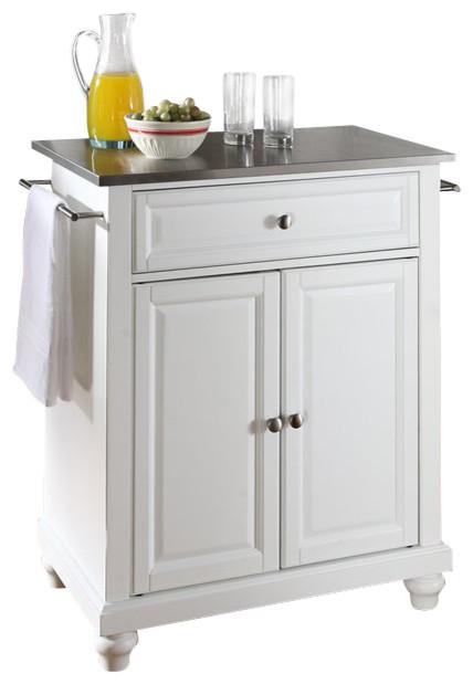 Stainless Steel Top White Kitchen Island transitional kitchen islands