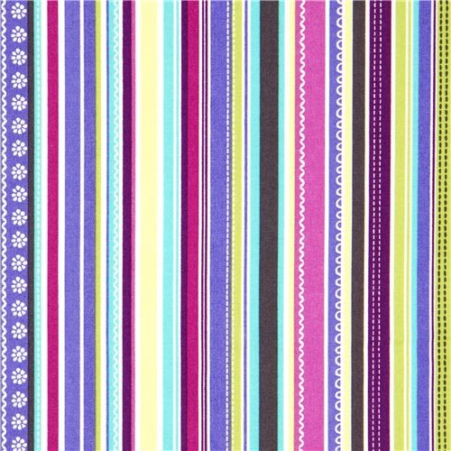 colourful striped michael miller fabric flower lace