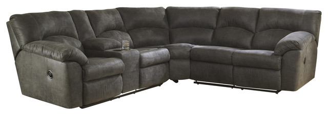 Tambo Reclining Sectional Pewter Contemporary