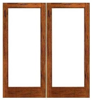 Rustic 1 lite french solid ig glass double door for Solid wood patio doors