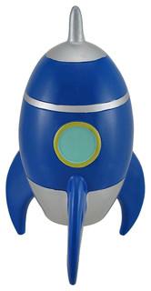 Blue and silver rocket ship coin bank piggy banks by zeckos - Rocket piggy bank ...
