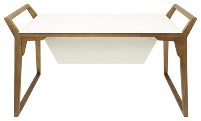 Bureau design 154 cm blanc et bois massif contemporary desks writin - Bureau pin massif blanc ...