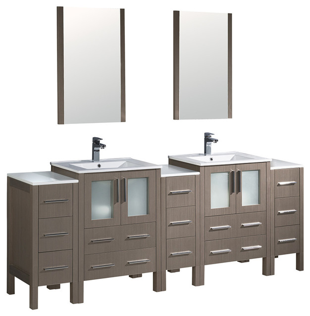 84 Gray Oak Double Sink Bathroom Vanity 3 Side Cabinets And Integrated