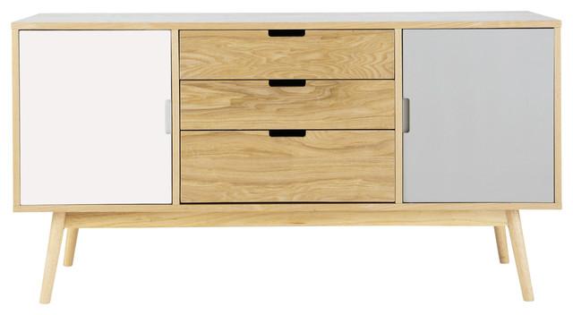 Buffet Bois Blanc : FJORD Buffet vintage en bois blanc et gris L 145 cm nordico-comodas-y