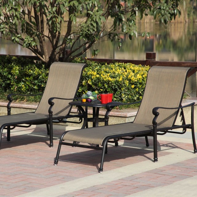 Darlee monterey 2 person sling patio chaise lounge set for 2 person outdoor chaise lounge