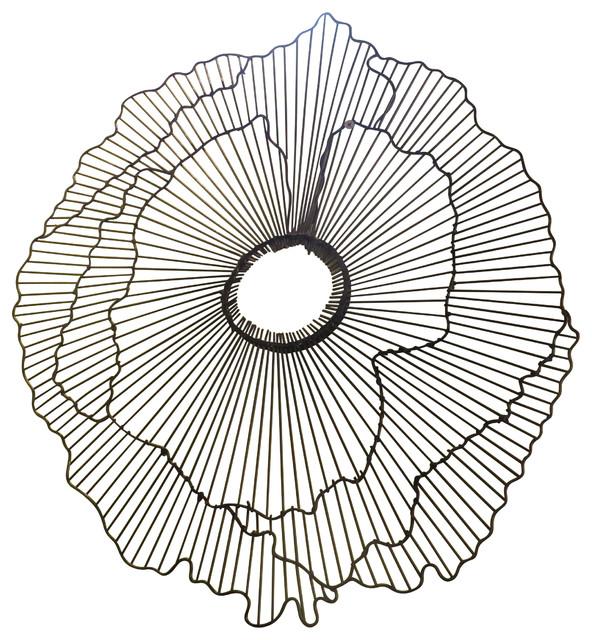 Modern 40 Wire Flower Wall Art Contemporary Metal