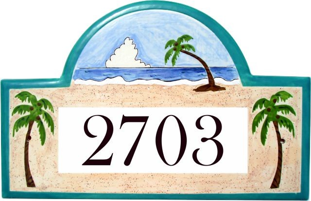 Tropical Beach House Number Plaque
