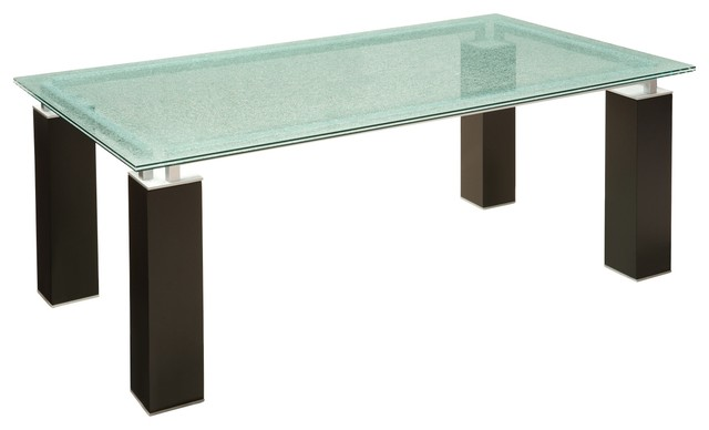 Ritz glass dining table dining tables other metro by for Cracked glass dining table
