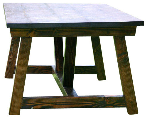 Rustic 4x4 truss beam dining room table kona for 4x4 dining table
