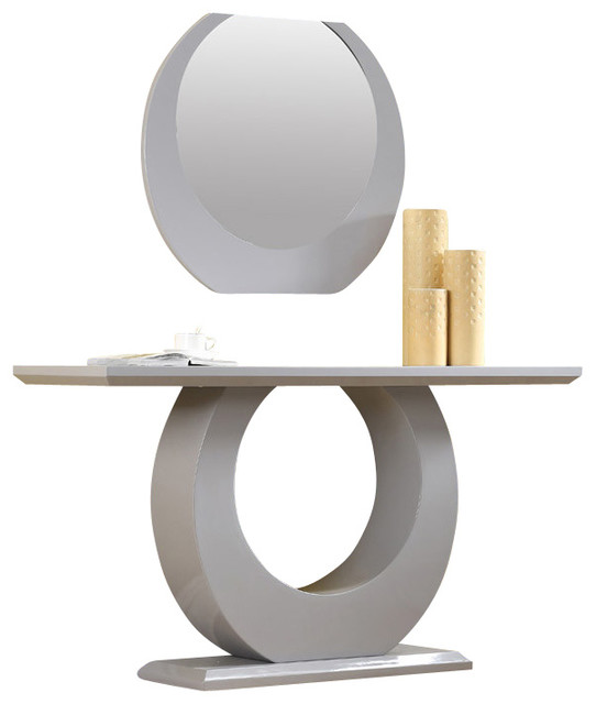 Modern white high gloss console table with mirror modern for Modern white lacquer console table