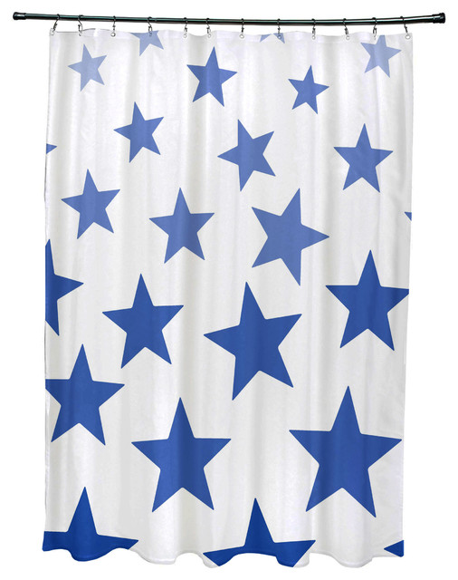 Just Stars Geometric Print Shower Curtain Blue Shower Curtains By E By Design