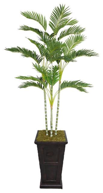 Laura Ashley 87-inch Tall Palm Tree in Fiberstone Planter contemporary ...