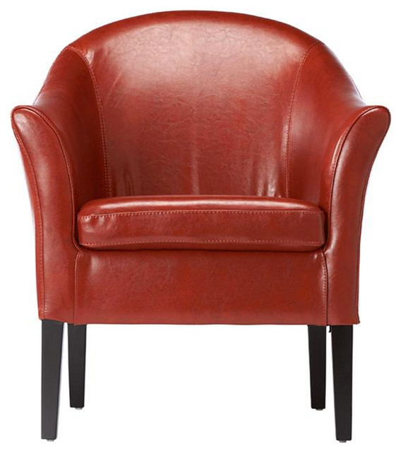 Leather Monte Carlo Club Chair Burnt Orange Transitional Armchairs And A